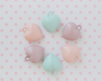 21mm Pastel Pink Blue Purple Heart Charms Kawaii Decoden Cabochons - set of 6