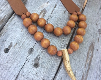 Leather Necklace - Deer Antler - Soft - Rustic - Vintage Beads - Bohemian Style - Leather Jewelry by Stacy Leigh