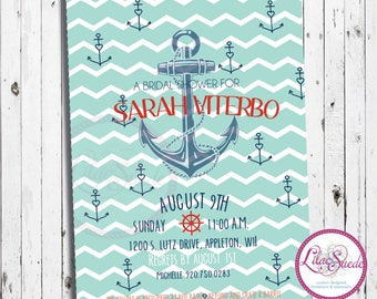 Anchors Away - bridal shower invitation - DIY - PRINT YOURSELF or purchase prints