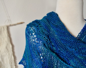 WAVEY Scarf/Shawl Prototype - Beautiful Hand-Dyed Blue Mulesing Free Merino From South America. Hand Knit Lace by the Designer. Blue Green