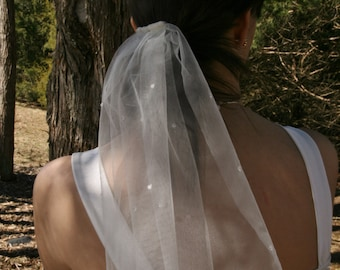 18 inch ivory veil with clear jewels