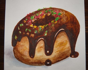 Original wotercolor painting on paper. Chocolate donut.