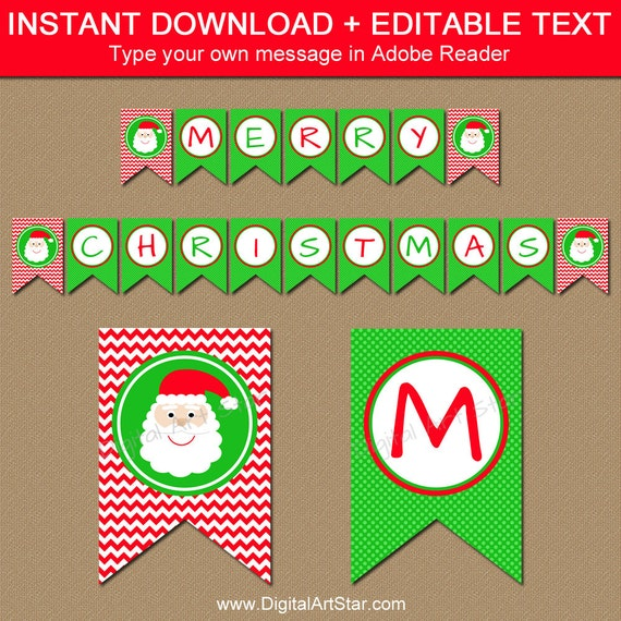 Christmas banner diy printable holiday banner santa banner christmas banner diy printable holiday banner santa banner christmas decorations instant download merry christmas banner bunting c4 solutioingenieria Images