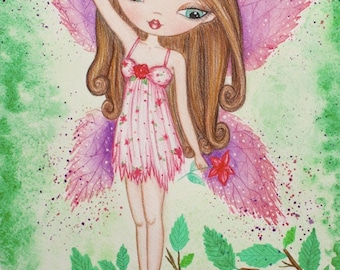 Fairy Art print. Girls room art. Fairy watercolor painting. Fantasy art. Girls room decor. Nursery art. Fairy doll illustration. Faerie art.