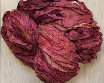 Sari Silk Ribbon in Victorian Plum Kettle Dyed Worm Goo by Pen and Hook 4 sizes of skeins