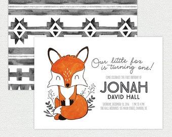 Printable Fox Birthday Invitation