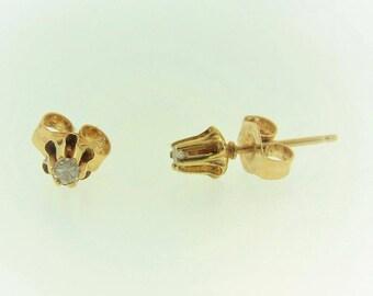 Antique Dainty Diamond Stud Earrings in 14k Yellow Gold