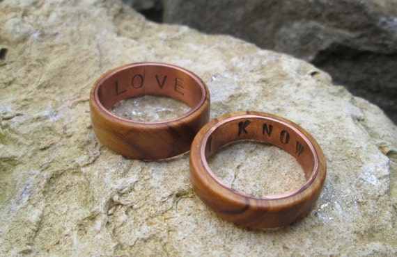 Copper and olive wood rings wedding ring copper I love you i