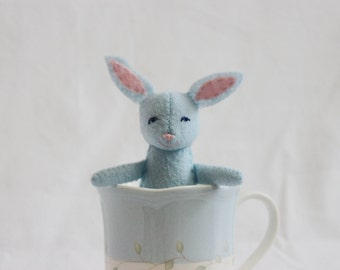 Handmade Blue Bunny Rabbit, Handmade Stuffed Rabbit, Blue Felt Bunny Rabbit, Blue Bunny