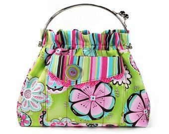 Handbag Hot Pink Lime Green Flowers Shoulder Bag