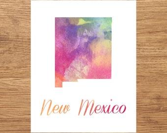 New Mexico Watercolor Fine Art Print, Watercolor Art, New Mexico Map Print, Watercolor Typography Art, State Wall Decor, Nursery, USA
