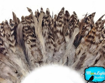 Rooster Feathers, 4 inch Strip - NATURAL GREY Chinchilla Schlappen Strung Rooster feathers : 3611