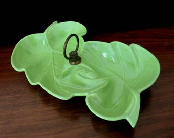 Large Green Pottery Double Leaf Two Sided Candy Dish Or Nut Dish. No 100