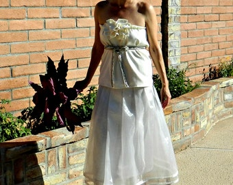 Simple Wedding Dress-Unique Wedding Dress-Alternative Wedding Dress-Organza Mon Cherie Tea Length Wrap Skirt Separate-Modern Bridal Clothing