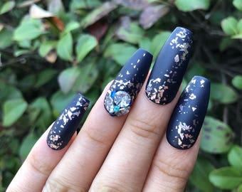 Navy-gation | 3d rhinestones golden flakes press on nails glue on nails