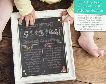Editable Baby's First Year Month by Month Chalkboard Sign Photo Prop - Instant Download Digital File - Reusable!