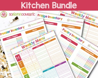 Kitchen Printable Bundle - Food Organizers (Pantry inventory, freezer inventory, fridge inventory) Menu Planners / Meal Schedule
