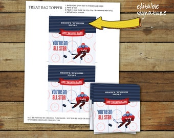 Hockey Valentine's Day treat bag topper - printable hockey valentine treat - editable pdf - instant download
