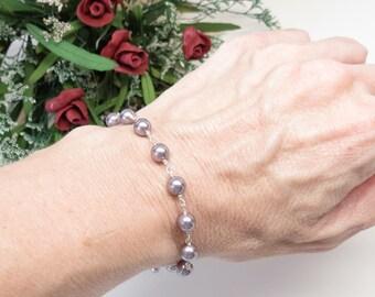 Swarovski Pearl Bracelet, Mauve Pearl Bracelet In Sterling Silver, Bridal Bracelet, Simple Pearl Bracelet, Bridesmaids Pearl Bracelet