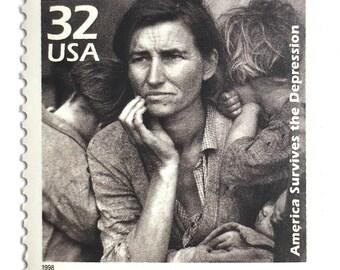 5 Unused Vintage Dorothea Lange Postage Stamps // Migrant Mother Great Depression Photograph // Postage for Art or Mailing