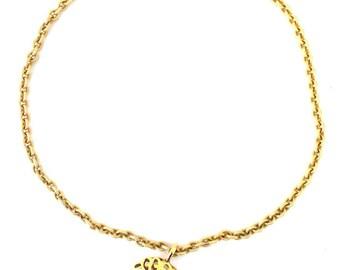 Chanel #14842 Gold Cc Floral Large Cutout Long Chain Necklace