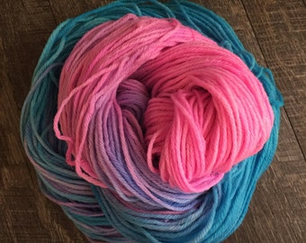 Cotton Candy, Bulky, 100% Superwash Wool, hand dyed wool