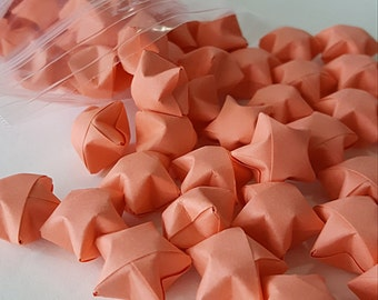 Salmon Origami Lucky Stars ~ 100 Count ~ Origami Wishing Star ~ Table Decoration ~ Wedding Decor ~ Party Favor