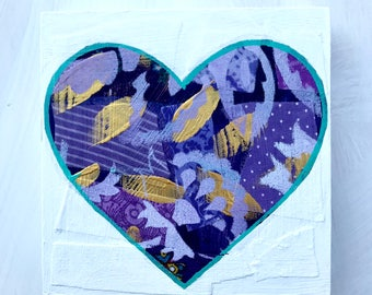 Ultra Violet Geometrical Heart Mixed Media Original Painting Gifts for Her Gifts Under 40