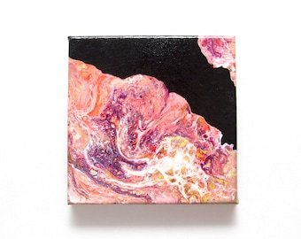 Original abstract painting - Rose Quartz, Gems. Acrylic on canvas 15 x 15 cm. Liquid pour acrylic painting.