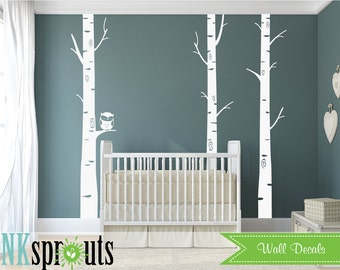 Birch tree with Owl Decal, Birch decal, set of 3 birch tree, Large birch tree, Birch forest,  Modern Nursery, Nursery decals, Baby Decals,
