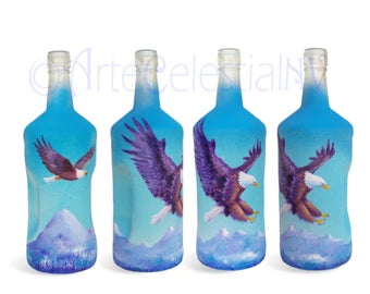 Hand Painted Bottle with Eagle
