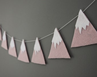 Felt Mountain Snowy Peaks Garland, Pink, She'll Move Mountains, Baby Nursery and Childrens Decor, Baby Shower Gift