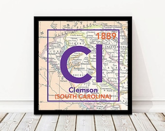Clemson Tigers South Carolina Vintage Periodic Map UNFRAMED ART PRINT, Christmas gift for her, Christmas ideas, All Sizes