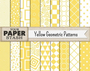 Geometric Paper, Geometric Patterns, Yellow, Geometric, Stars, Checkered, Squares, Circles, Diamonds, Digital Paper Pack, Scrapbook Paper