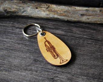 Trumpet - genuine leather keychain