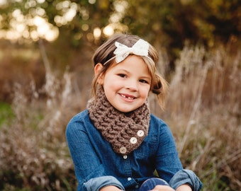 Taupe Kids Scarf Taupe Girls Scarf Taupe Boys Scarf Taupe Scarf Taupe Scarflette Girls Scarflette Boys Scarflette Brown Scarf Button Cowl