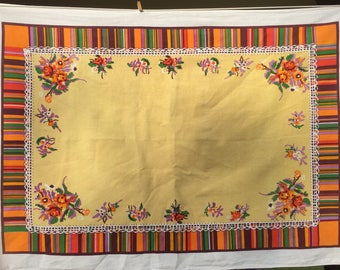 ON CLEARANCE - Vintage Fall Design Tablecloth, Orange, Green, Brown, Yellow