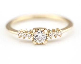 dainty engagement ring, Engagement Ring, diamond ring, anniversary ring, minimalist ring, simple cluster ring, minimalist engagement ring