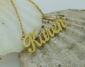 Gold Curved name necklace, script name necklace, gold necklace with name, personalized name necklace , 8