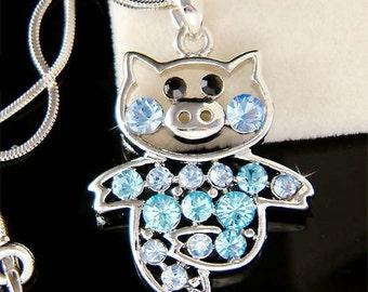 Swarovski crystal Baby Blue PIG Piggy Piglet Charm Pendant Chain Necklace Cute Xmas