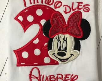 I'm Twodles Shirt-Mouse Shirt-Girl Birthday Shirt-2nd Birthday Shirt-Applique Shirt- Girls Shirts