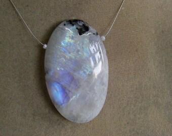 1 Pendant Rainbow Moonstones   beads 34, Grams 10X34X55  MM