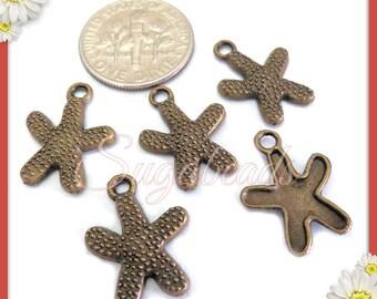 10 Antiqued Brass Starfish Charm Beads 16mm x 12mm PB82