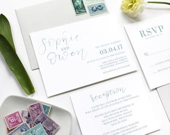 Calligraphy Wedding Invitation / Simple / Brush Lettering / Modern / Semi Custom Wedding Invitation / Teal Watercolor