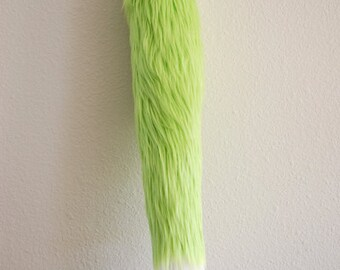 Faux Fur Fox Tail - Lime Green - Cosplay / Furry / Costume