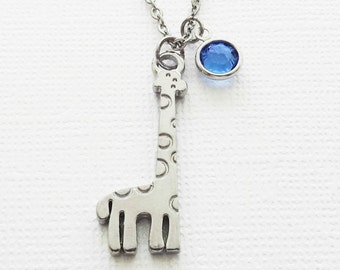 Giraffe Necklace, Zoo Animal, Child Gift, Birthday, Animal  Lover, BFF, Best Friend, Silver Jewelry, Swarovski Channel Birthstone Crystal