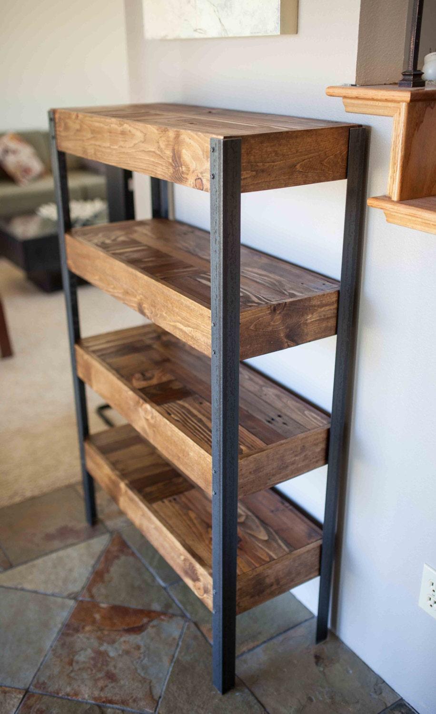 biblioth que de jambes palette bois et m tal. Black Bedroom Furniture Sets. Home Design Ideas