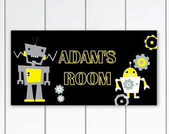 Robot door sign -  Personalized door sign - Kids Bedroom door sign, Personalized name sign