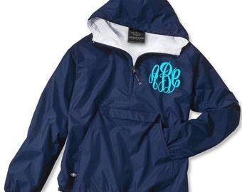 YOUTH Fleece Lined Monogrammed Pullover Rain Jacket Half-Zip Personalized Jacket 1/4 Zip Monogrammed Jacket - Wind Breaker