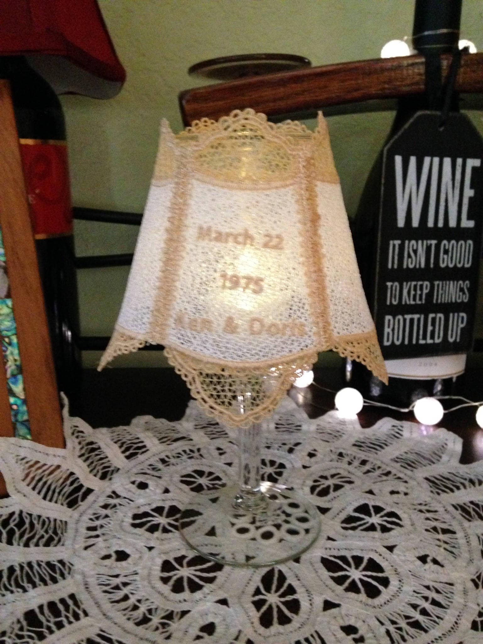 Lace wine glass shade tea light shade lace accent shade custom lace wine glass shade tea light shade lace accent shade custom bridal lace light shade handmade lace wedding anniversary gift accent shade arubaitofo Images
